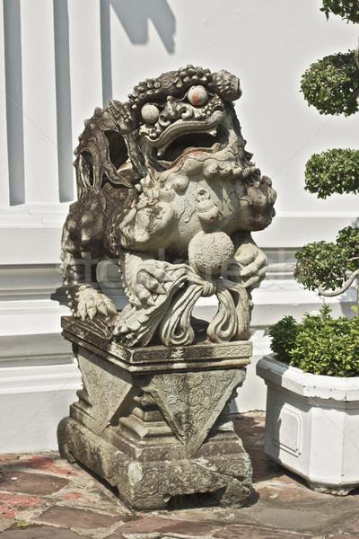Szobor kő Bangkok Thaiföld szemek művészet Stock fotó © PetrMalyshev