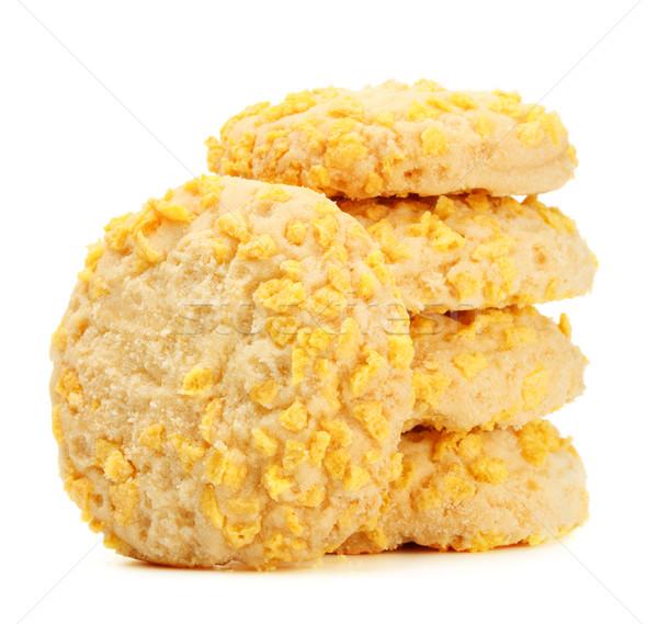 ストックフォト: 自家製 · クッキー · チップ · ピース · 孤立した · 白