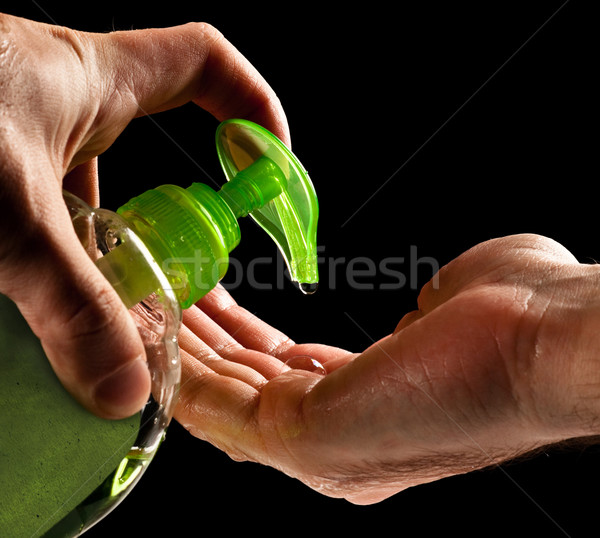 washing hands with liquid soap Stock photo © PetrMalyshev