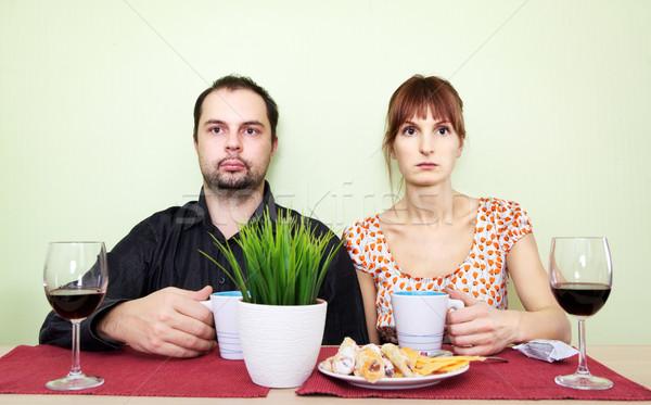 Stock fotó: Furcsa · család · pár · asztal · ital · tea