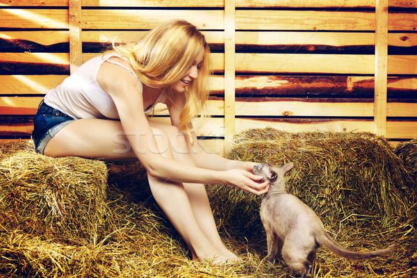Nina gato hermosa niña verano día mujeres Foto stock © PetrMalyshev
