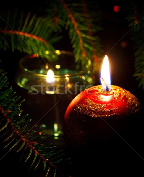 Twee kaarsen kaars Rood zwarte Stockfoto © PetrMalyshev