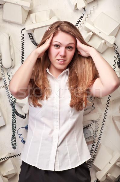Opérateur femme panique belle visage téléphone Photo stock © PetrMalyshev