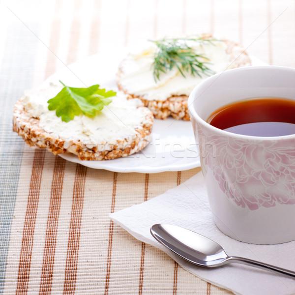 диета завтрак чай кукурузы хлеб бумаги Сток-фото © PetrMalyshev