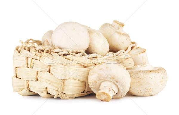 свежие шампиньон грибы корзины изолированный белый Сток-фото © PetrMalyshev