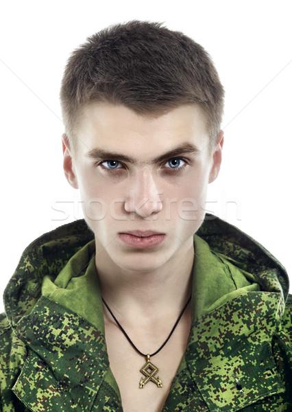 Stok fotoğraf: Askeri · adam · portre · genç · yalıtılmış