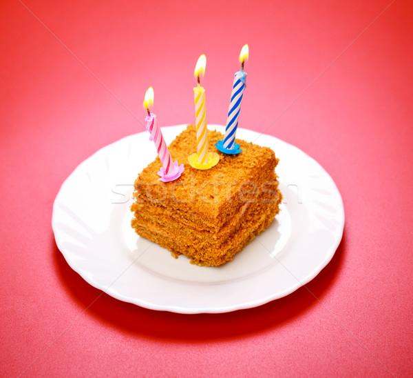 именинный торт свечу розовый счастливым шоколадом фон Сток-фото © PetrMalyshev