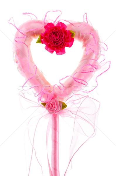 Rosa varita mágica aislado blanco flor corazón Foto stock © PetrMalyshev
