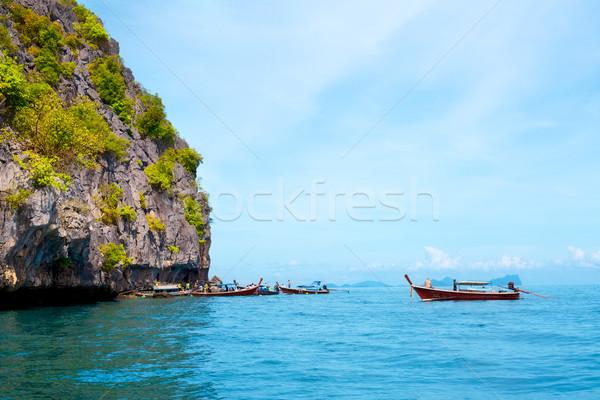 Сток-фото: морем · высокий · утес · деревья · Таиланд