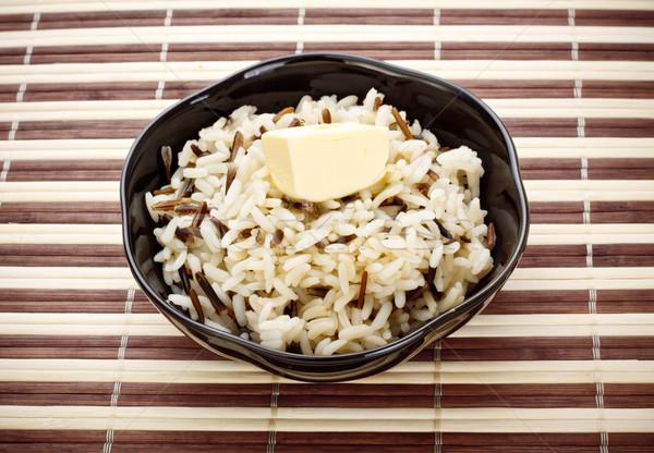 Bol cuit riz noir beurre bambou Photo stock © PetrMalyshev
