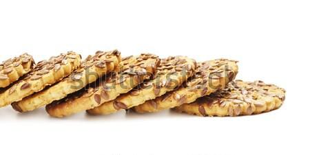 Sesamo cookies fresche isolato bianco alimentare Foto d'archivio © PetrMalyshev