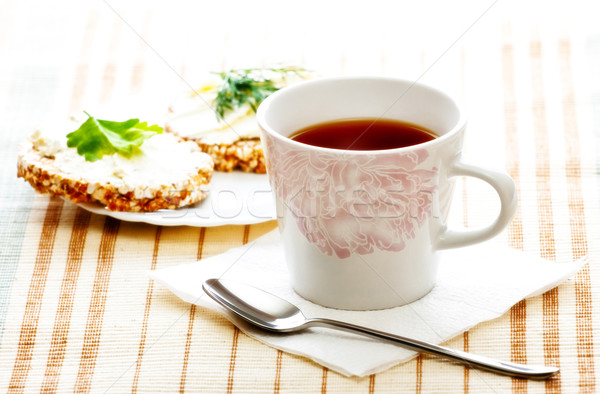 diet breakfast with tea and corn bread Stock photo © PetrMalyshev