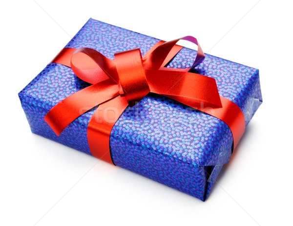 blue gift box Stock photo © PetrMalyshev