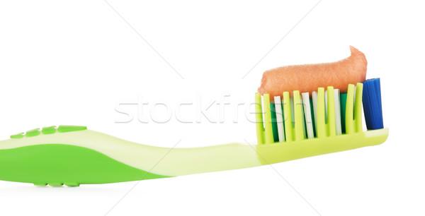 Yeşil diş fırçası diş macunu yalıtılmış beyaz Stok fotoğraf © PetrMalyshev