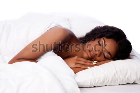 Beautiful woman deeply asleep and dreaming Stock photo © phakimata