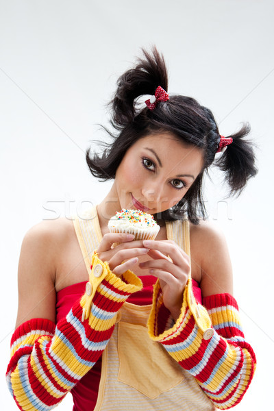 Cupcake girl Stock photo © phakimata