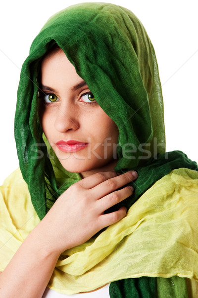 Twarz zielone oczy szalik portret tajemniczy piękna Zdjęcia stock © phakimata