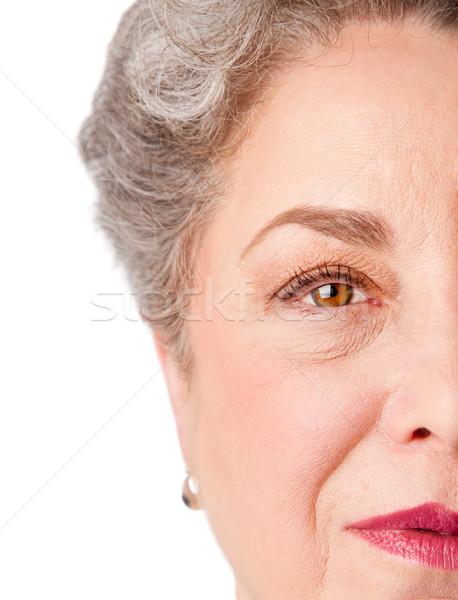Wachsam Senior Auge Erfahrung schönen gesunden Stock foto © phakimata