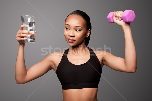 Heureux saine noir asian femme eau Photo stock © phakimata