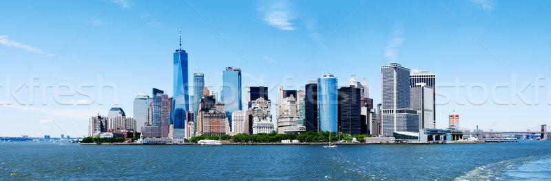 Panoráma új város Manhattan sziluett Freedom Tower Stock fotó © phakimata