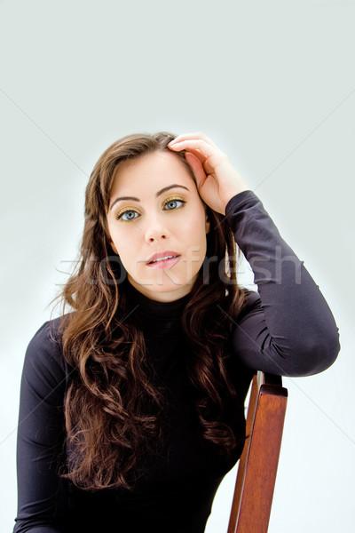 Bleu beauté visage belle brunette isolé Photo stock © phakimata