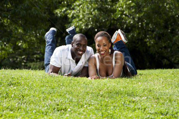 Heureux africaine couple belle amusement souriant Photo stock © phakimata