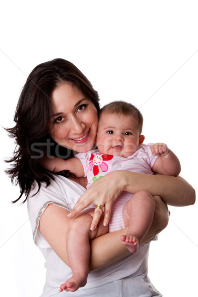 Happy mother and baby daughter Stock photo © phakimata