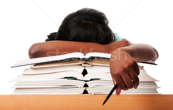 Stock photo: Tired of homework studying