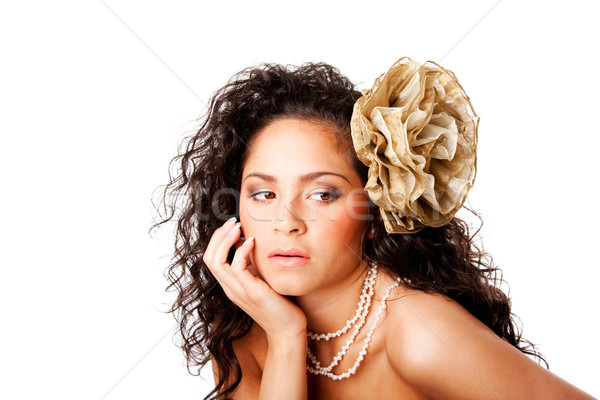 Belle peau visage fleur bronzé Photo stock © phakimata