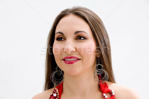 Belle brunette visage isolé femme Photo stock © phakimata