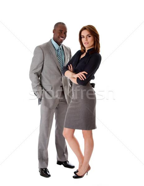 бизнеса пару красивой афроамериканец человека кавказский Сток-фото © phakimata