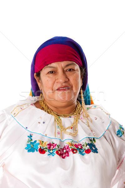 Női arc gyönyörű idős nő dél-amerika folklór Stock fotó © phakimata