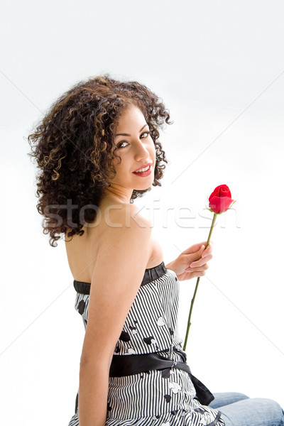 Jeunes belle brunette sincère jeune femme brun Photo stock © phakimata