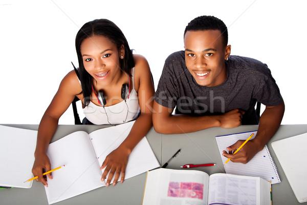 Dwa szczęśliwy akademicki studentów studia wraz Zdjęcia stock © phakimata