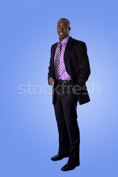 Happy African American business man Stock photo © phakimata