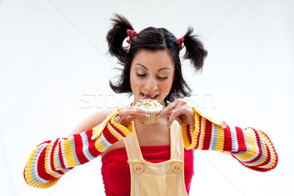 Minitorta lány gyönyörű izolált nő szem Stock fotó © phakimata