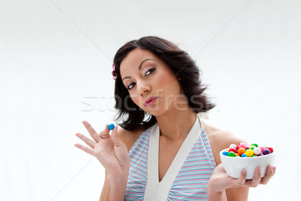 Heureux bonbons fille belle bol coloré Photo stock © phakimata