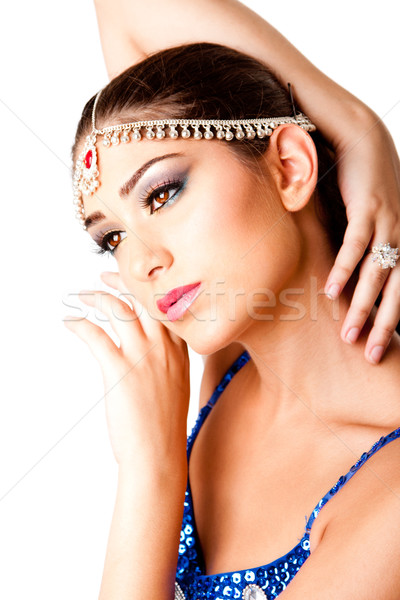 Middle Eastern Makeup Beauty Face with hands Stock photo © phakimata