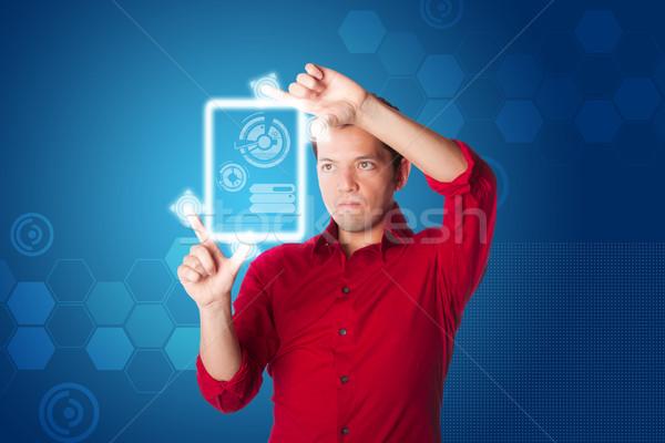 Numérique affaires technologie homme d'affaires rouge shirt Photo stock © phakimata