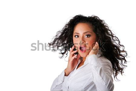 Surprised business Latina woman Stock photo © phakimata