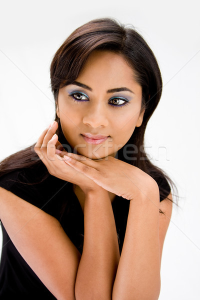 Belle visage de femme femme bleu fort Photo stock © phakimata