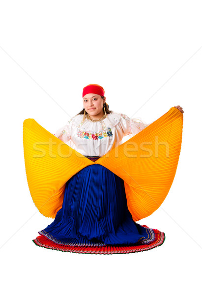 Stock fotó: Nő · gyönyörű · boldog · dél-amerika · folklór · ruházat