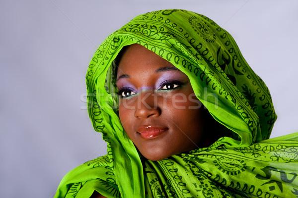 Photo stock: Africaine · femme · visage · innocent · belle · jeunes
