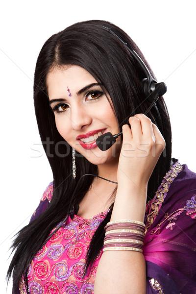 Feliz indiano atendimento ao cliente representante belo negócio Foto stock © phakimata