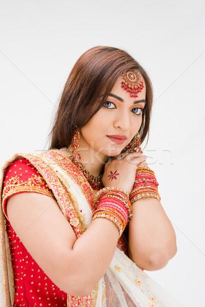 Belle mariée coloré robe isolé femme Photo stock © phakimata