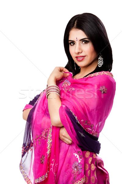Gyönyörű indiai nő színes ruha áll Stock fotó © phakimata