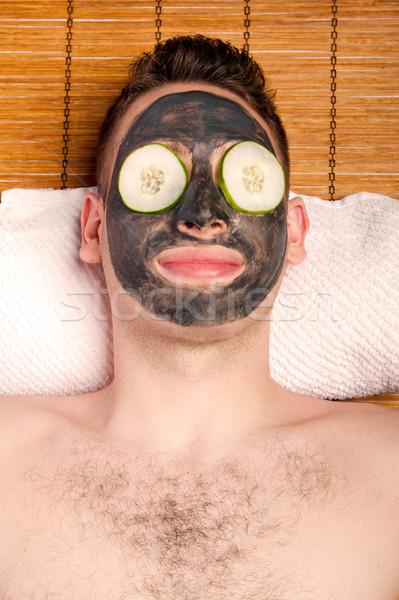 Male facial mask skincare Stock photo © phakimata