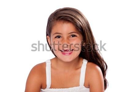 Cute nina que falta dientes sonriendo hermosa Foto stock © phakimata