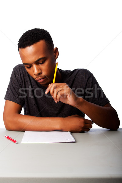 Student concentrating for test exam Stock photo © phakimata