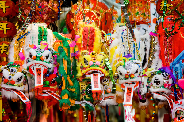 Foto stock: Chinês · dragões · novo · anos · enforcamento · armazenar